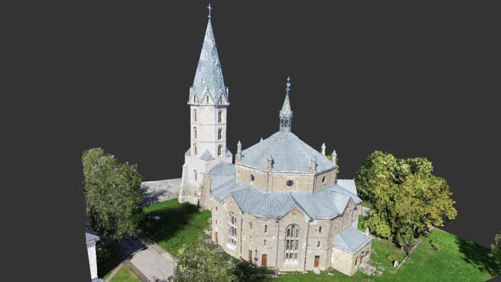 Narva Aleksandri kirik - droonimõõdistuse punktipilve mudel